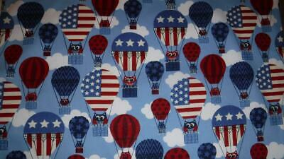 1//2 YARD 4 QUILTING FOURTH OF JULY FABRIC RED~WHITE~BLUE OWLS~HOT AIR BALLOONS