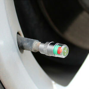 4X-KFZ-Reifen-Ventilkappen-Reifenwaechter-Druckanzeige-36PSI-Reifendruckwaech-H9Z4