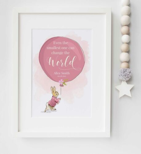 Personalised New Baby Peter Rabbit Name Birth Nursery Print Christening UNFRAMED