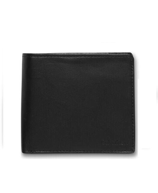$55 CALVIN KLEIN Mens Black Leather Bifold Coin Pocket Passcase ID Card Wallet