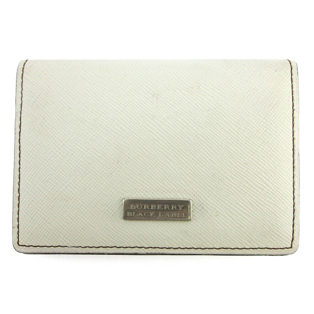 BURBERRY BLACK LABEL card case logo plate white leather Auth used L3080