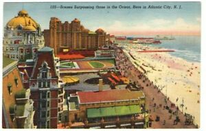 Undated-Unused-Postcard-Beach-and-Boardwalk-Scene-in-Atlantic-City-New-Jersey-NJ