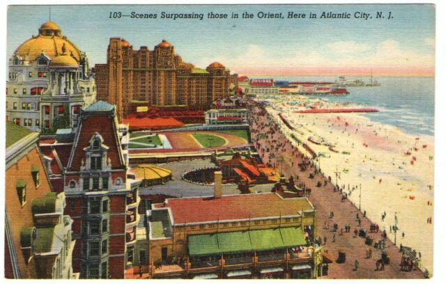 Undated Unused Postcard Beach and Boardwalk Scene in Atlantic City New Jersey NJ