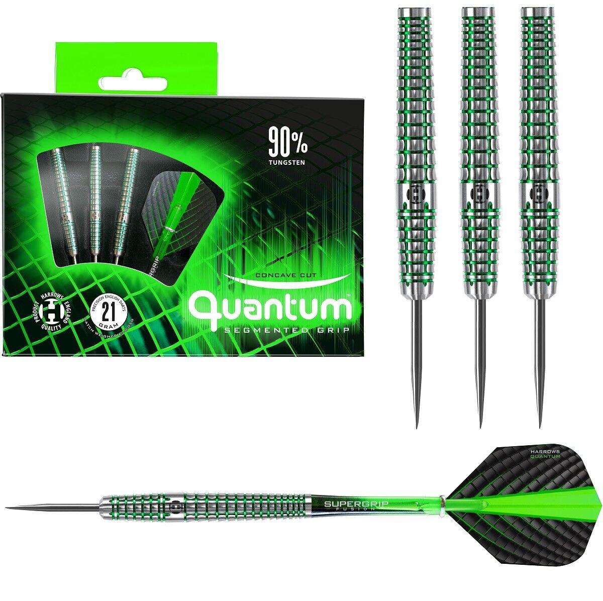 Harrows Quantum 90% Tungsten Steel Tip Darts - Green Rings - 22g 23g 24g or 26g