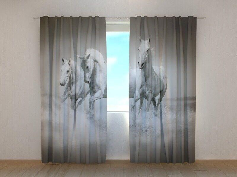 Cortina con caballos Impresión blancoo gracia wellmira Ready Made 3D Sala De Estar