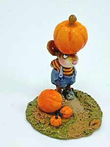 Wee Forest Folk Miniature Figurine Tippy Top Pumpkin M340 Halloween