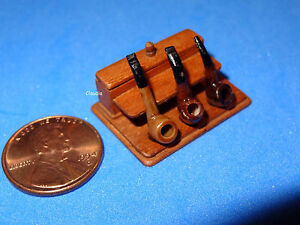 OOAK-Miniature-Handmade-Artist-Pipe-Box-by-Taller-Targioni-w-3-Pipes-1-12-Scale