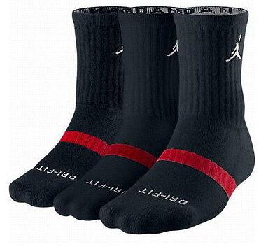 NIKE Mens Air jordan DRI-FIT CREW socks WHITE BLACK 3 pairs one pack