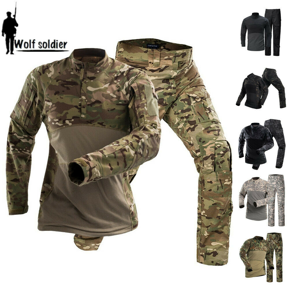 Tactical  Military Mens Combat T-shirt Cargo Pants Army BDU Camouflage Uniform  the newest brands outlet online