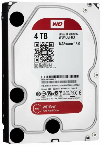 WD Red 4TB WD40EFRX NAS HDD 5400 RPM Class SATA 6 GB//S 64 MB Cache 3.5-Inch NEW