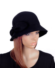 c46fd71eda5 item 6 M501 Black Cute Bow Cashmere Winter Tea Church Hat Bucket Cloche Cap  Women s -M501 Black Cute Bow Cashmere Winter Tea Church Hat Bucket Cloche  Cap ...