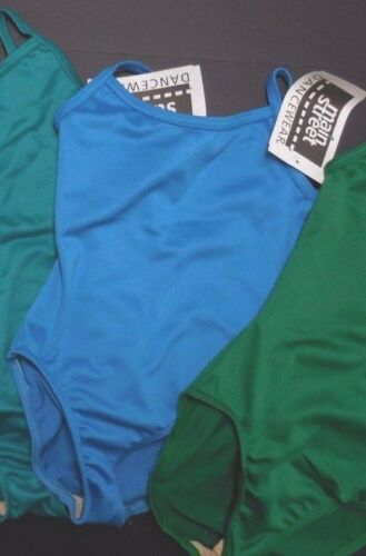 NWT Camisole Leotard Frontlined Blues Greens 5 shades child//ladies v back ballet