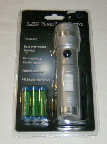 Silber Taschenlampe  LED 14 Gehäuse