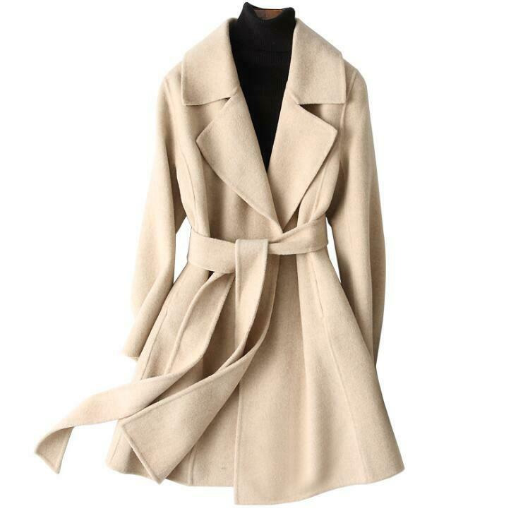 150cm Ladies 100% Cashmere Mid Long Coats Lapel Collar Woolen Belt OL Jackets Sz