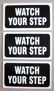 LOT-OF-3-PLASTIC-CARDBOARDS-4-034-x-8-034-WATCH-YOUR-STEP