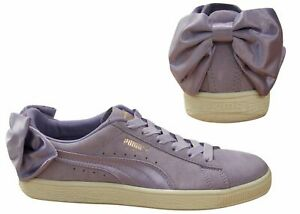 Puma Suede Bow Lace Up Womens Leather