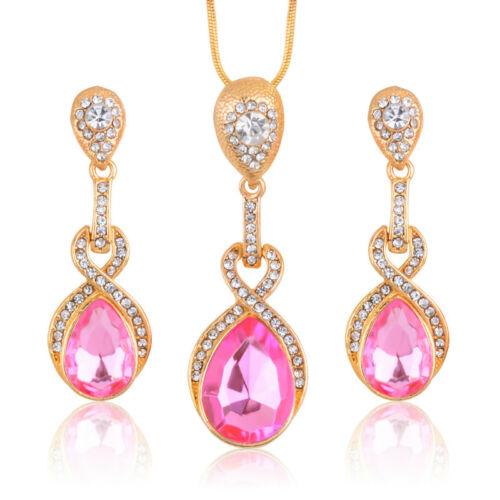 Charmant plaqué or rose strass cristal goutte bijoux Set Cadeau de Mariage