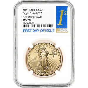 2021 American Gold Eagle Type 2 1 oz $50 - NGC MS70 First Day Issue 1st Label