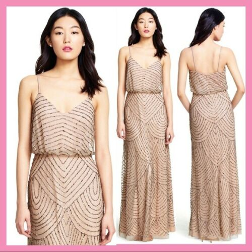 NEW Adrianna Papell Embellished Blouson Gown Taupe Pink 0  8 8P 10 12 12P 14 16