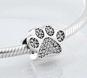 Silver-Charm-Paw-Prints-Pet-Dog-claw-charm-bead-Shine-925-Silver