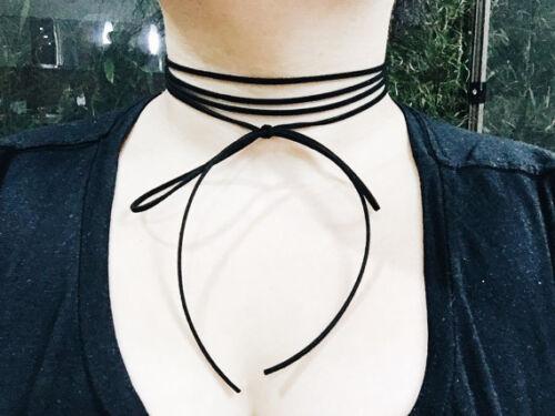 4 Strand Ribbon Bow Wrap Choker Black Faux Boho Suede Wrap Around