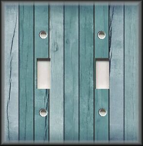 Metal-Light-Switch-Plate-Cover-Coastal-Home-Decor-Beach-Aged-Wood-Blue-Grey