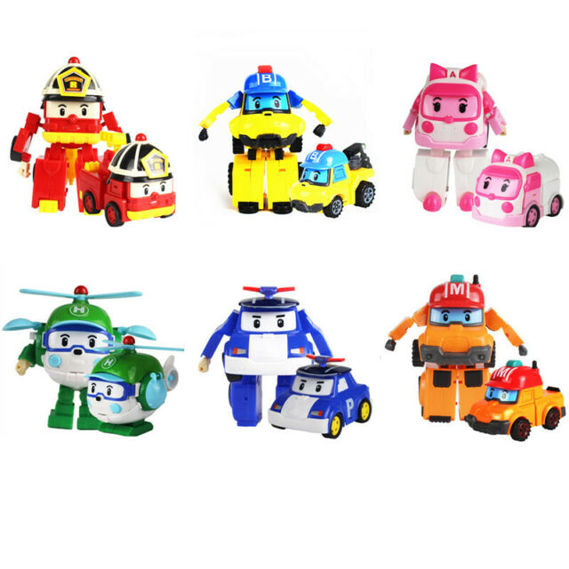 Robocar POLI ROY AMBER HELLY Transformers Robot Car Figure Toy Kids Gift