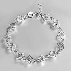 Damen-Silber-ueberzogene-Armband-Box-Kristall-Kette-Armband-Geschenk