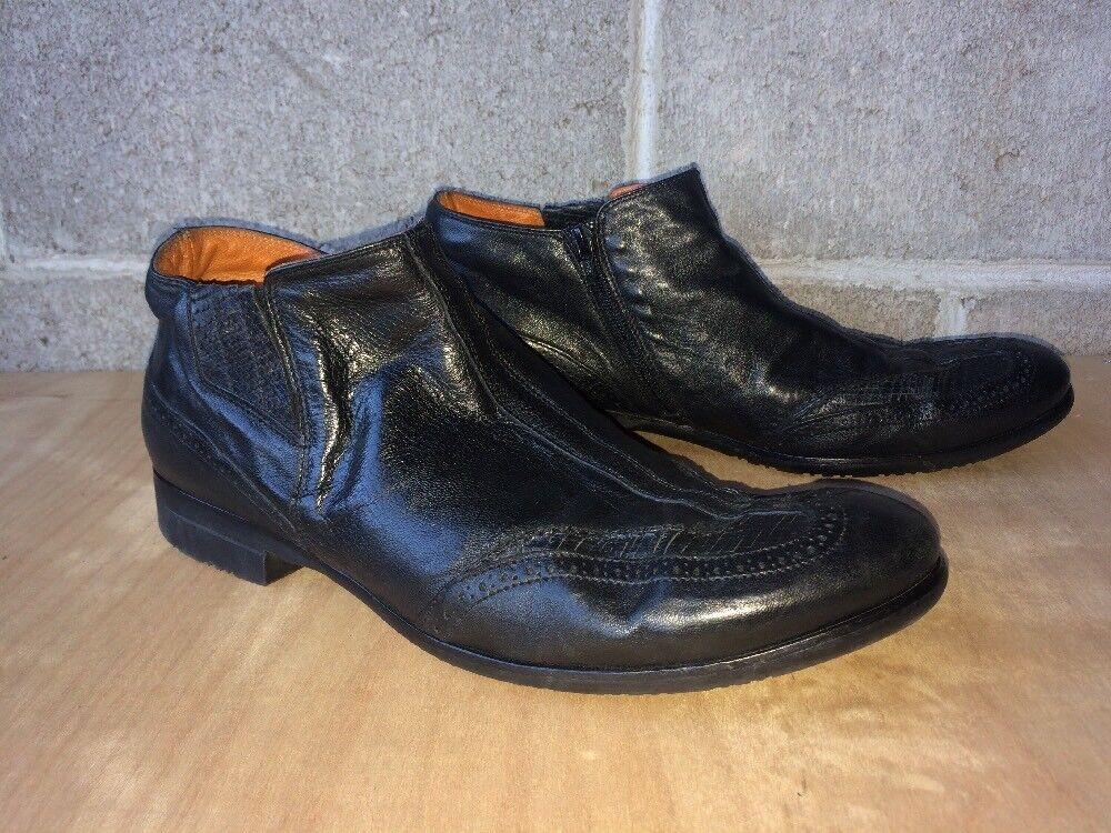Ernesto Dolani Men's Ankle Boots Sz 44.5 Black Side Zip No Insoles Made In