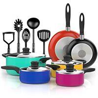 Vremi 15 Piece Nonstick Color Pop Cookware Set; 2 Saucepans And 2 Dutch Ovens 2