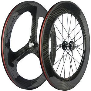 Front-3-Spoke-Wheels-Rear-88mm-Carbon-Track-Bike-Wheelset-12K-Fixed-Gear-Wheel