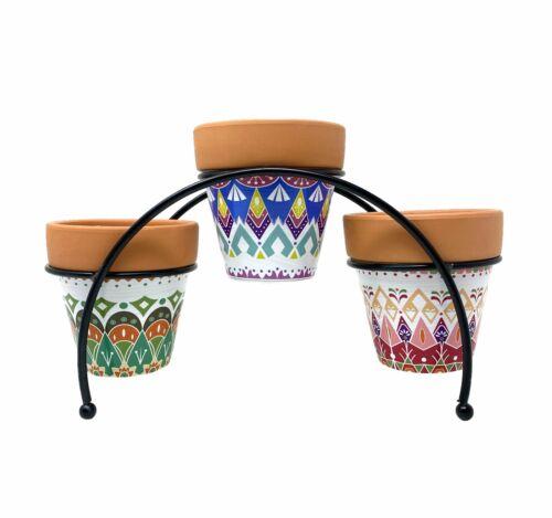 TJ Global 3-Pot Succulent Cactus Tribal-Print Terracotta Planter Pot with...