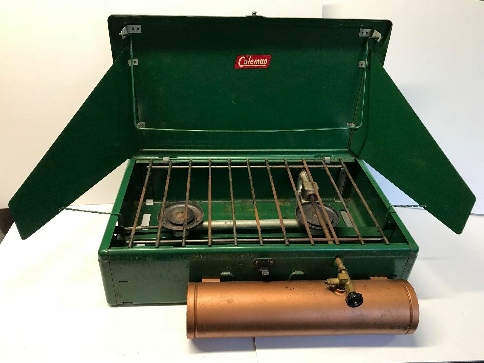 Vintage Early 1950s Coleman Two Burner Camp Stove 413D gold  Tank  lowest whole network