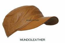 CASTRO CAP CAMEL BROWN MEN'S GENUINE LEATHER NEWSBOY GATSBY BASEBALL