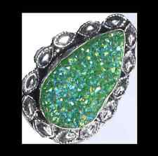 NEW - TITANIUM DRUZY LARGE TEARDROP SHAPED SILVER PLATED STATEMENT RING 8.5