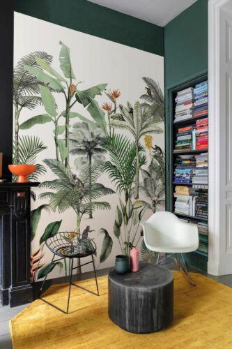 Rapidement papier peint 539172 Club Botanique Singe Jungle Blanc Coloré La Fresque toile