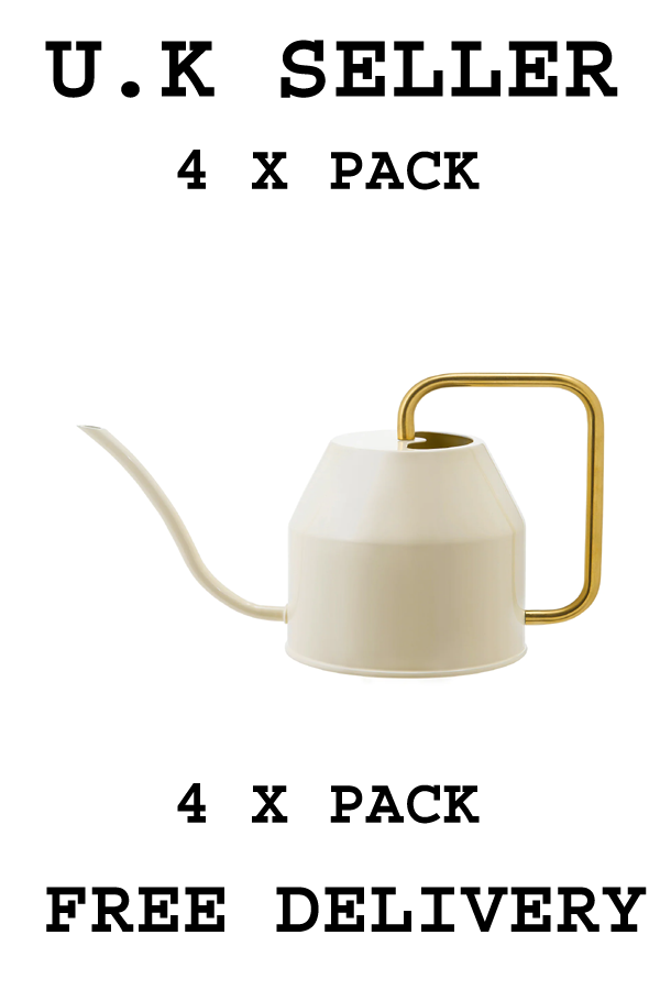 4 X VATTENKRASSE Watering can, ivory/gold-colour0.9 l