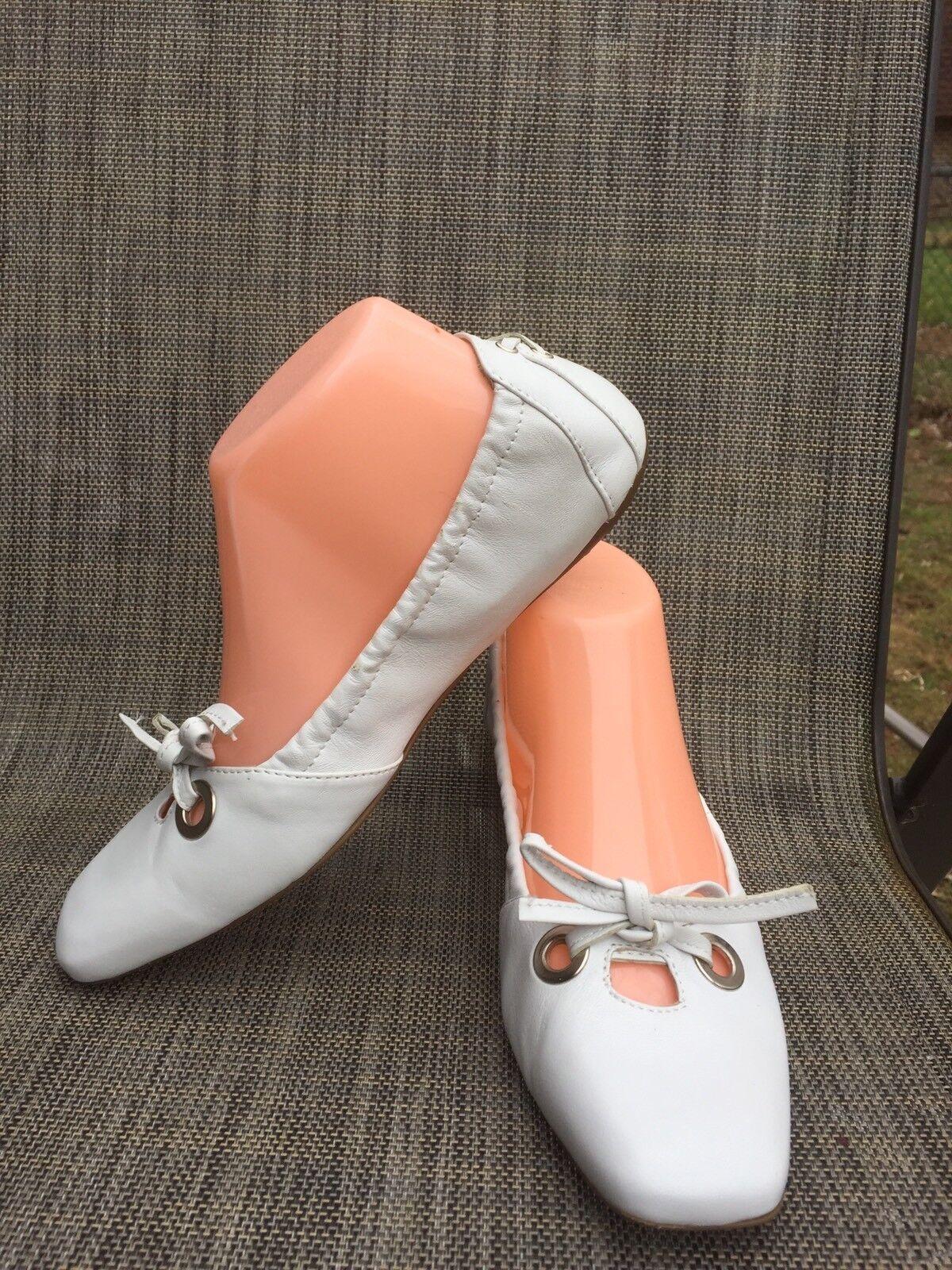 Rare Leder STOKTON Damens's Weiß Leder Rare Ballet Flat sz.37.5/7-7.5US w/bow, f7e1f8
