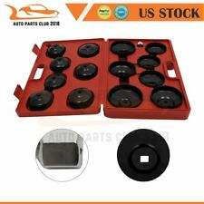 15pcs Cup Type Oil Filter Cap Wrench Socket Removal Tool Set Withcase 38 Drive