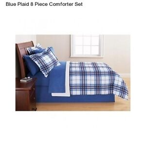 Blue Plaid Twin Twin Xl Size Comforter Set Bedding