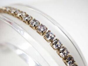 18-Karat-Gelbgold-2-mm-erstellt-Diamond-Princess-Tennis-Armband-8-Zoll