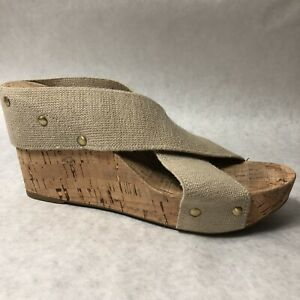 Lucky-Brand-Shoes-Womens-Size-8-M-Beige-Wedge-Heels-8M