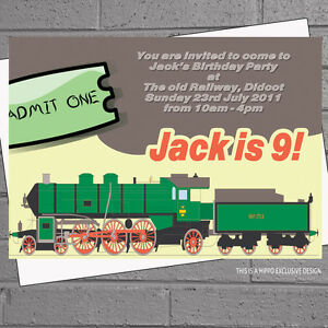 Image Is Loading Personalised Boys Ticket Train Kids Birthday Party Invitations