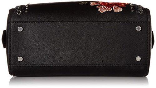 Satchel Bestickt Saffiano Klein Schwarz Nwt 191797262129 Calvin Leather Medium Chain Woven XSUnn5d8