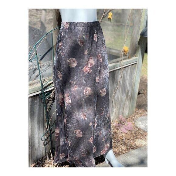 Vintage 90s Velvet Maxi Skirt Floral Cottagecore … - image 4