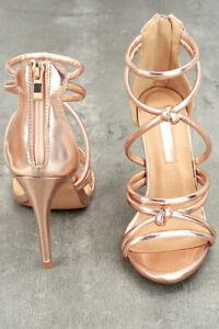 05629791b41 Details about Women's Liliana Rose Gold Tube Strap High Heel Sandal Shoe  Size 9-NWOB