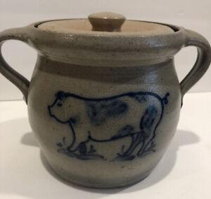 Rowe Pottery Salt Glazed Stoneware Pig Design Bean Pot W/ Lid & Handle Damage