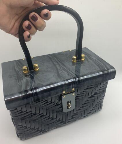 Vtg 50s WICKER PEARL LUCITE  BASKET HANDBAG BAGS B