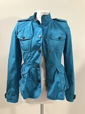 NWT $1095 BURBERRY London Peplum style short coat Blue Teal Size US 2 UK 4