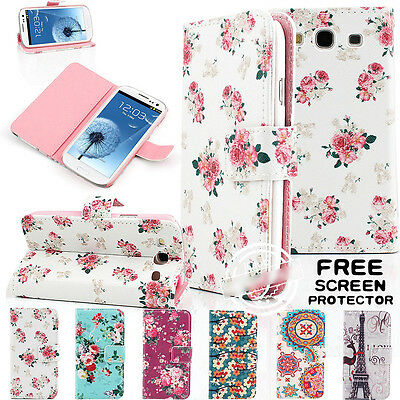 UK Vintage Floral Wallet Card Leather Stand Flip Case Cover For Samsung Models